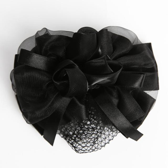 バレッタ BH-006BA ヘアアクセサリー ブラック 黒 リボン フラワー シニヨン シニョン お団子 可愛い 髪飾り レディース 女性用 華やか お宮参り