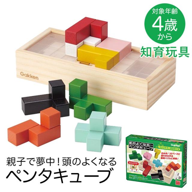 学研 頭のよくなるペンタキューブ 知育玩具 4歳 5歳 6歳 パズル ブロック 木製 積み木 知育 玩具 おもちゃ 学習 教材 教具 遊具 教育 勉強 子供 子ども こども キッズ 男の子 女の子 保育園 幼稚園 園児 幼児 室内 誕生日 クリスマス プレゼント ギフト ED83409