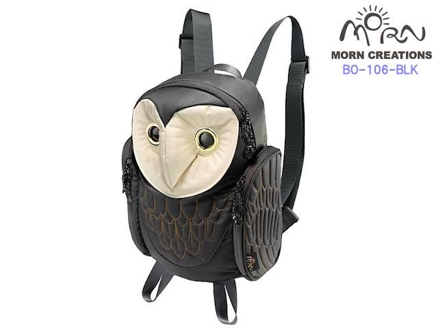 MORN CREATIONS モーンクリエイションズ メンフクロウ バックパック レディース  BLK ブラック フクロウ リュック デイパック