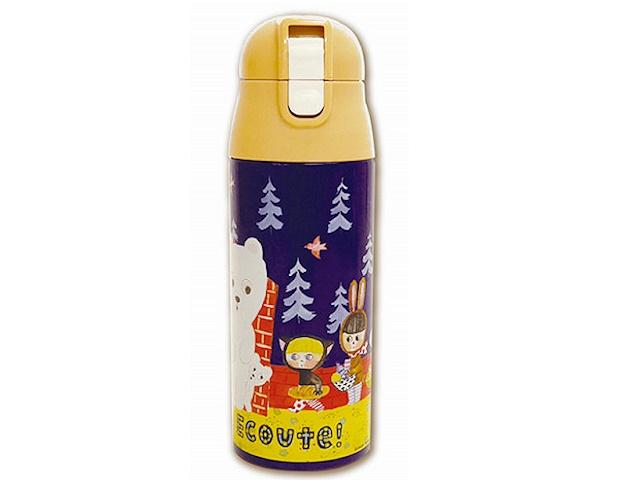 ECOUTE !  エクート 軽量ステンレスマグボトル しろくま ワンプッシュオープンの直飲みタイプ 保温保冷対応 水筒