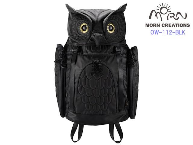 MORN CREATIONS モーンクリエイションズ ミミズクバックパック M  BLK ブラック  新作 フクロウ リュック デイパック