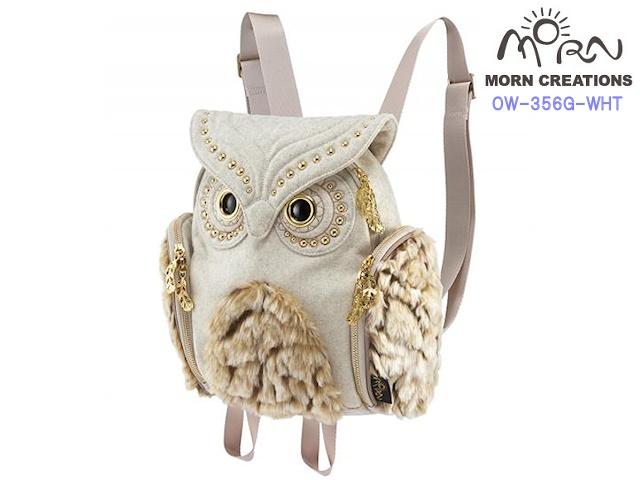 MORN CREATIONS モーンクリエイションズ ミミズククラシック レディース ファーグロー WHT  フクロウ リュック デイパック