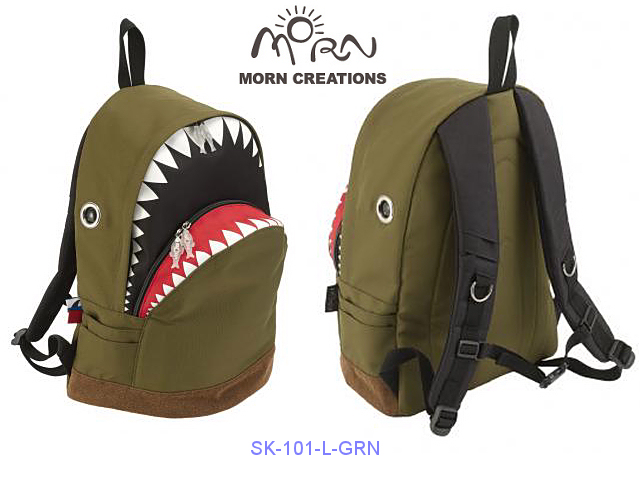 MORN CREATIONS/モーンクリエイションズのシャークバックパック(L)グリーン