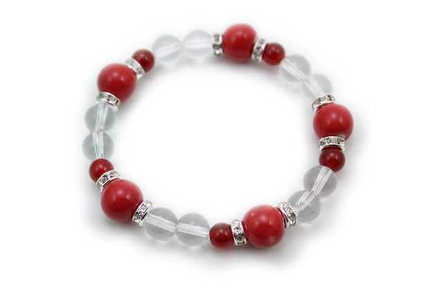 有田焼と天然石のブレスレット(Arvo) 五つ玉赤水晶メノウ