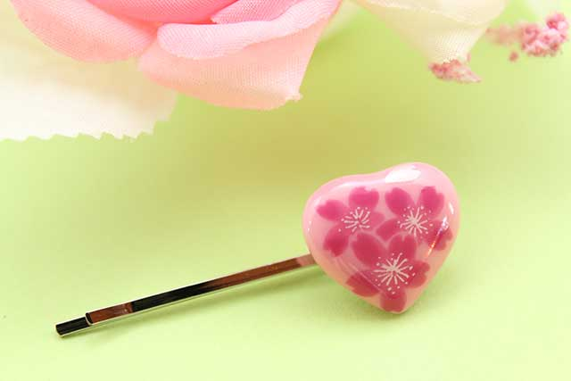 有田焼ヘアピン ハート ピンク桜