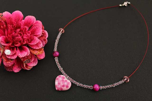 有田焼ハート天然石ペンダント(Arvo) ピンク桜紋様タイガーアイ