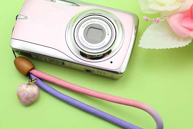 有田焼ピンク銀桜染め紐ストラップ