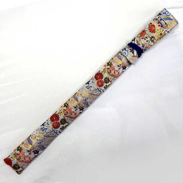 【送料無料メール便】篠笛袋・横笛袋 「菊扇」綿生地 幅約45mm?長さ約600mm