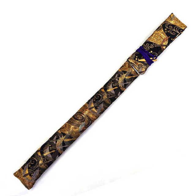 【送料無料メール便】篠笛袋・横笛袋 「鶴金」綿生地 幅約45mm?長さ約600mm