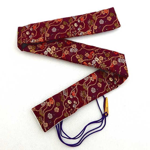【送料無料メール便】篠笛袋・横笛袋・笛袋「松と梅赤紫」金襴 幅約45mmX長さ約600mm 篠笛適合 五本調子・六本調子・七本調子