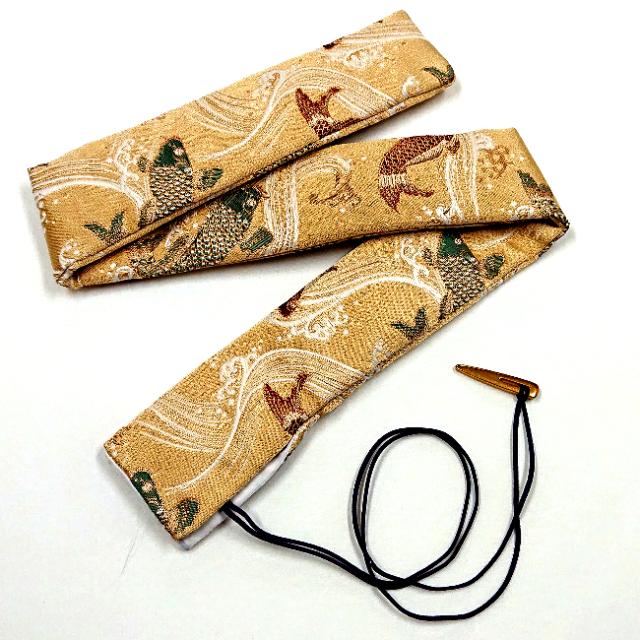 【送料無料メール便】笛袋 篠笛袋  大きいサイズ用 「鯉」 上質生地(金襴) 幅60mm長さ750mm 篠笛適合 一本調子・二本調子・三本調子