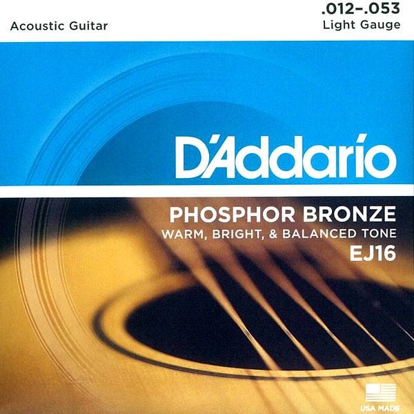 [送料無料] DAddario(ダダリオ)Phosphor Bronze アコギ弦 EJ16
