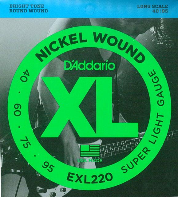 [送料無料]DAddario(ダダリオ) ベース弦 スーパーライトゲージ EXL220