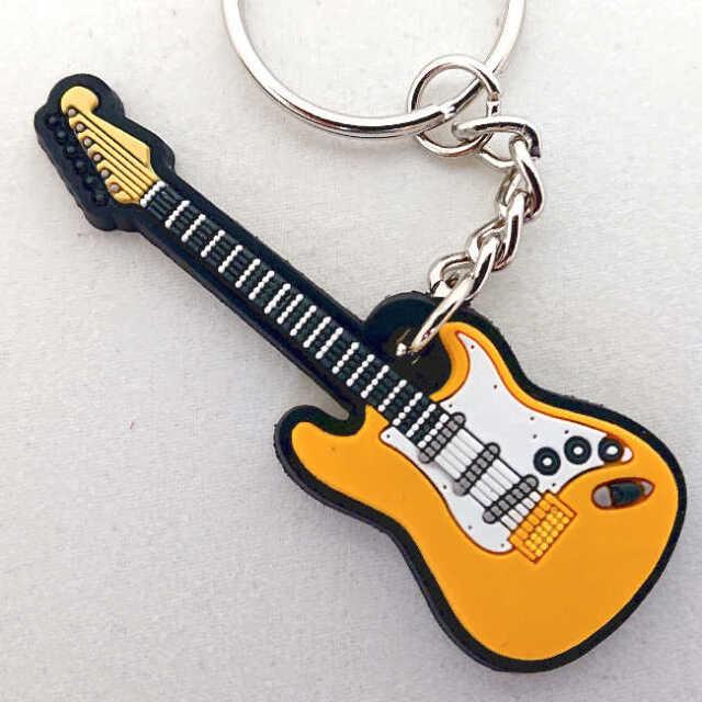 【送料無料メール便】ストラトキャスター イエロー エレキギター ラバーキーホルダー MUSICIAN DESIGNER