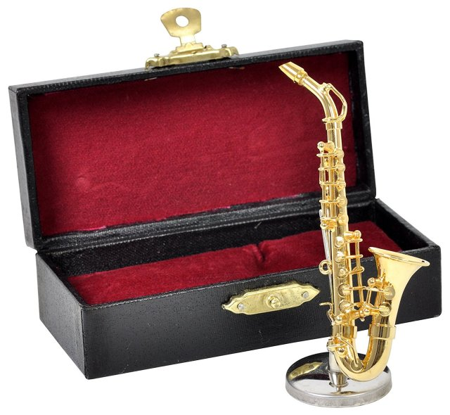 ミニチュア楽器(フィギュア)アルトサックス カラーゴールド 金属 1/12(9cm) サンライズサウンドハウス(飾り物で音は出ません)