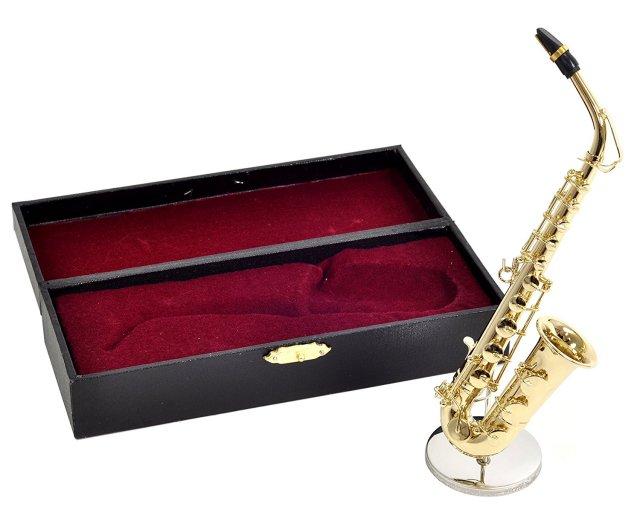 ミニチュア楽器(フィギュア)アルトサックス カラーゴールド 金属 1/6(16cm) サンライズサウンドハウス(飾り物で音は出ません)
