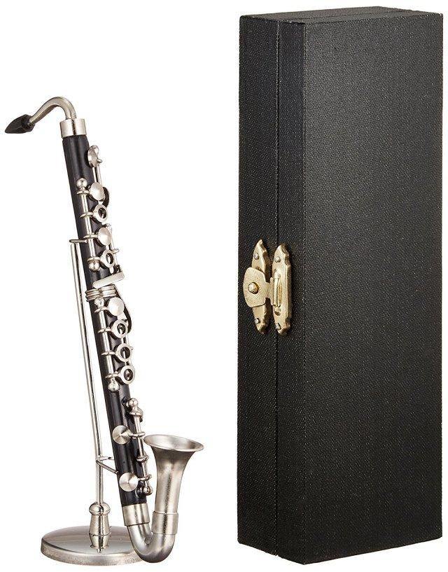 ミニチュア楽器(フィギュア)バスクラリネット 黒 金属製・プラスチック 1/6(13cm)(飾り物で音は出ません)