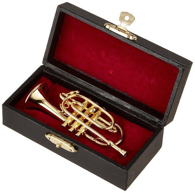 ミニチュア楽器(フィギュア)コルネット カラーゴールド 金属製 1/6(9cm) サンライズサウンドハウス(飾り物で音は出ません)