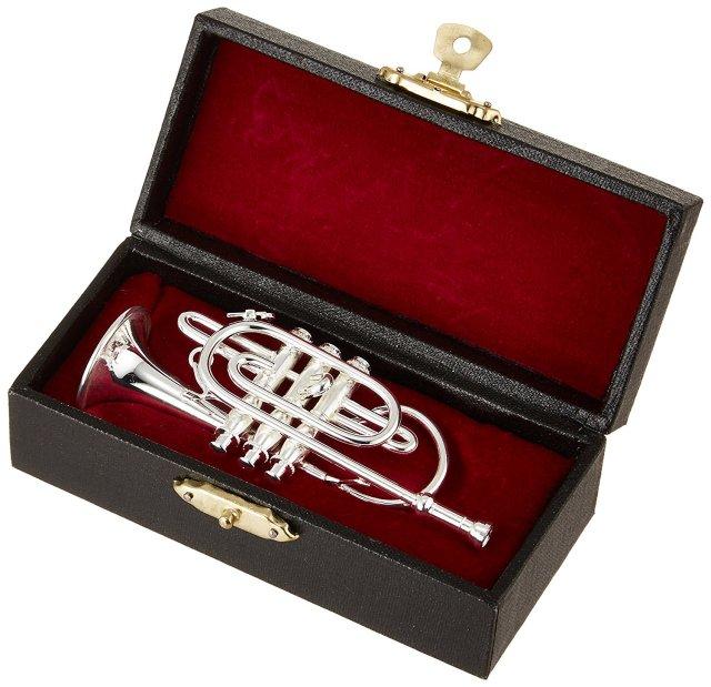 ミニチュア楽器(フィギュア)コルネット カラーシルバー 金属製 1/6(9cm) サンライズサウンドハウス(飾り物で音は出ません)