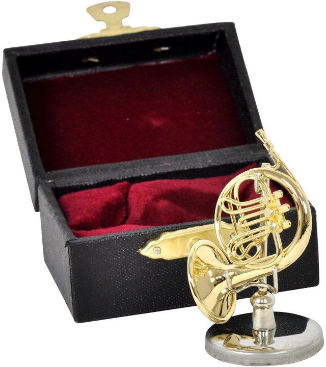 ミニチュア楽器(フィギュア)フレンチホルン カラーゴールド 金属 1/12(3.5cm) サンライズサウンドハウス(飾り物で音は出ません)