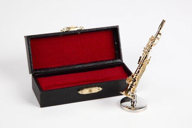 ミニチュア楽器(フィギュア)ソプラノサックス カラーゴールド 金属製 1/12(8cm) サンライズサウンドハウス(飾り物で音は出ません)