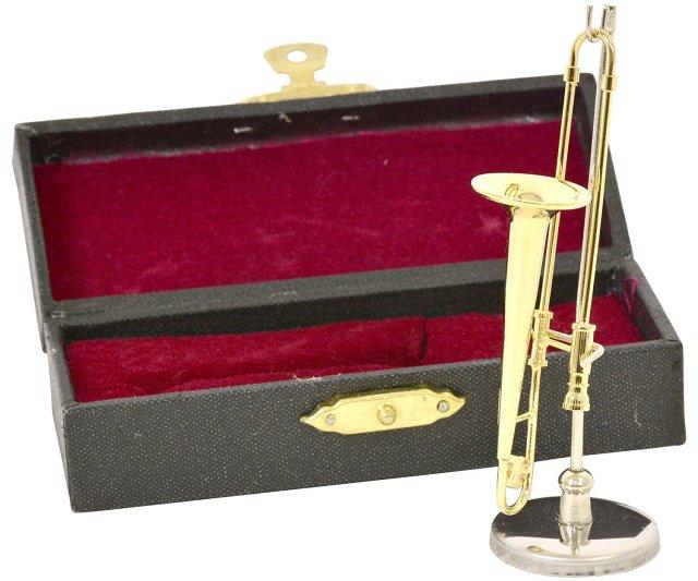 ミニチュア楽器(フィギュア)トロンボーン カラーゴールド 金属製 1/12(8cm) サンライズサウンドハウス(飾り物で音は出ません)