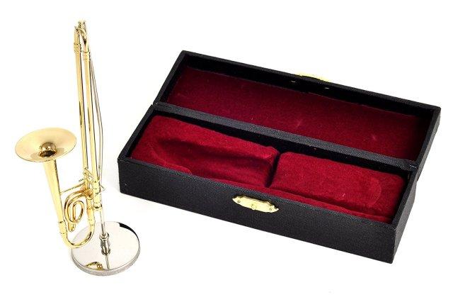 ミニチュア楽器(フィギュア)トロンボーン カラーゴールド 金属製 1/6(14cm) サンライズサウンドハウス(飾り物で音は出ません)