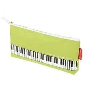 【送料無料メール便】マチ付き鍵盤ペンケース グリーン Piano Line 鍵盤がプリントされたカワイイ筆箱
