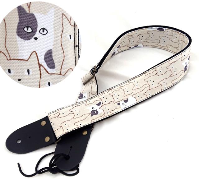 【送料無料メール便】日本製ギターストラップ アリア 猫柄ギターストラップ ホワイト SPS-2000シリーズ