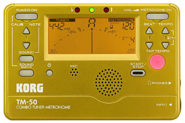 【送料無料メール便】KORG メトロノーム・チューナー TM50ゴールド(金)  TM-50-GD