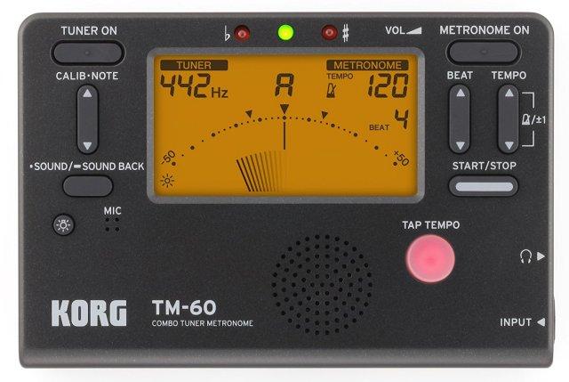 【送料無料メール便】KORG 電子メトロノーム・チューナー TM-60 ブラック(TM-60-BK) 管楽器・弦楽器 トレーニング用電子機器