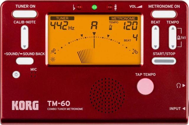 【送料無料メール便】KORG 電子メトロノーム・チューナー TM-60 レッド(TM-60-RD) 管楽器・弦楽器