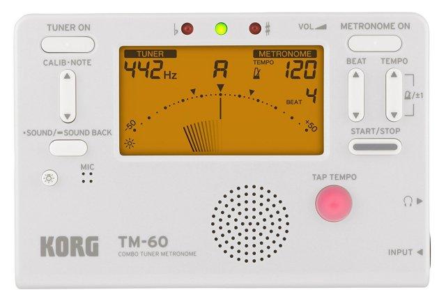 【送料無料メール便】KORG 電子メトロノーム・チューナー TM-60 ホワイト(TM-60-WH) 管楽器・弦楽器 トレーニング用電子機器