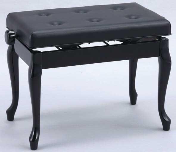 日本製 高低自在 ピアノ椅子 木製両ハンドル 横幅60cm 猫脚タイプ 甲南 V60-C 黒塗り
