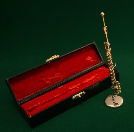 ミニチュア楽器(フィギュア)フルート カラーゴールド 金属製 1/6(14cm) サンライズサウンドハウス(飾り物で音は出ません)