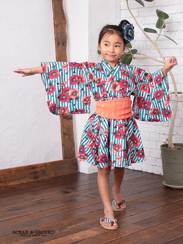 【1点までゆうパケット可】Ocean&Ground|オーシャンアンドグラウンド 浴衣ワンピース 女児 MODERN FLOWER