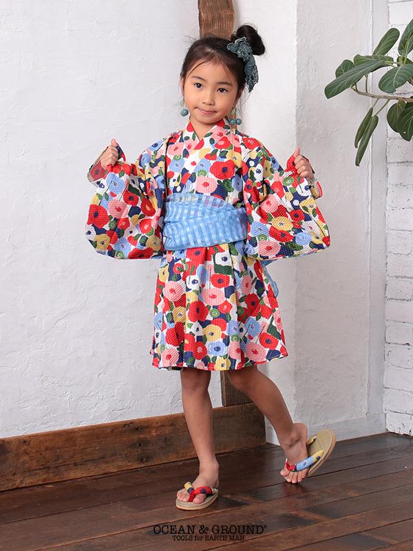 OCEAN&GROUND|オーシャンアンドグラウンド 浴衣 ワンピース 女の子 FLOWER POP 90-120cm(ピンク・レッド)