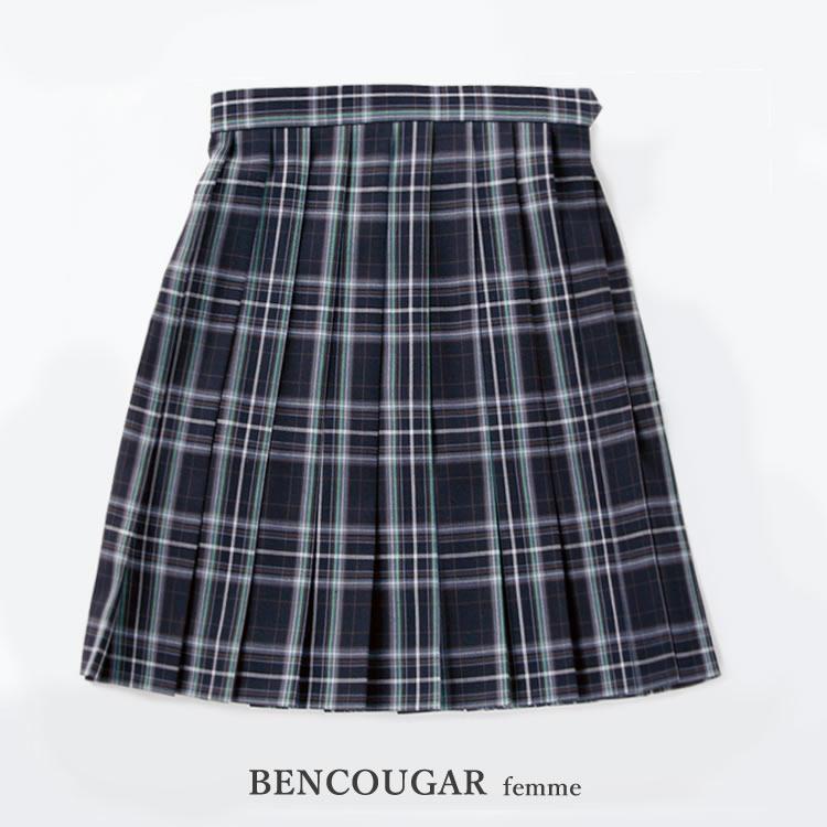 BENCOUGAR|ベンクーガー スクールスカート 51cm丈 W60cm-W72cm(ブラック/グリーンチェック)