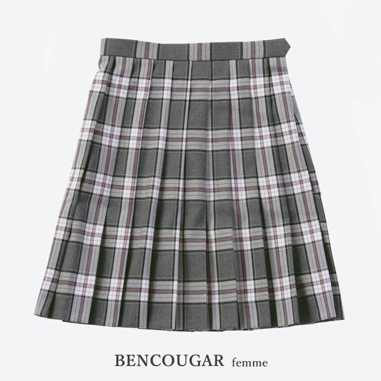 BENCOUGAR|ベンクーガー スクールスカート 51cm丈 W60cm-W72cm(ベージュ/ピンクチェック)