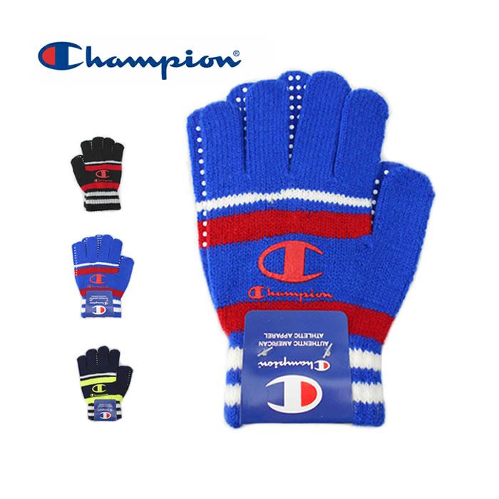 Champion|チャンピオン のびのび手袋 キッズ|ブラック ブルー ネイビー