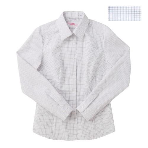 ビーステラ 長袖スクールシャツ (ブルー×赤チェック) ワイシャツ Yシャツ