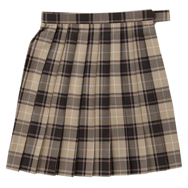 BESTELLA|ビーステラ スクールスカート 女子 学生服 W60cm-W72cm(ベージュ×ブラックチェック)