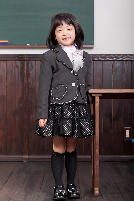 スカートスーツ(チャコールグレー)フォーマル5点セット 子供フォーマル トドラー 女の子 N-Girl
