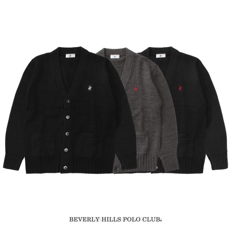 BEVERLY HILLS POLO CLUB|ビバリーヒルズポロクラブ スクールカーディガン 男女兼用(ネイビー・チャコール・ブラック)