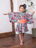 OCEAN&GROUND|オーシャンアンドグラウンド 浴衣ワンピース 女の子 MODERN FLOWER 90-120cm(ブルー・ネイビー)