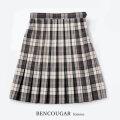 BENCOUGAR|ベンクーガー スクールスカート 51cm丈 W60cm-W72cm(ベージュチェック)