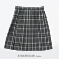 BENCOUGAR|ベンクーガー スクールスカート 51cm丈 W60cm-W85cm(グレーチェック)