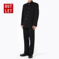 アウトレット|詰襟 学生服 制服 男子 上着 ズボン 上下セット ウール20%ポリエステル80%(黒)