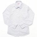 ビーステラ 長袖スクールシャツ (ホワイト) ワイシャツ Yシャツ 透け防止 ソフトスリムシャツ