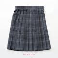 BESTELLA|ビーステラ スクールスカート 51cm丈 学生服 女子 制服 スカート プリーツ W60cm-W72cm(グレー×ブルーチェック)